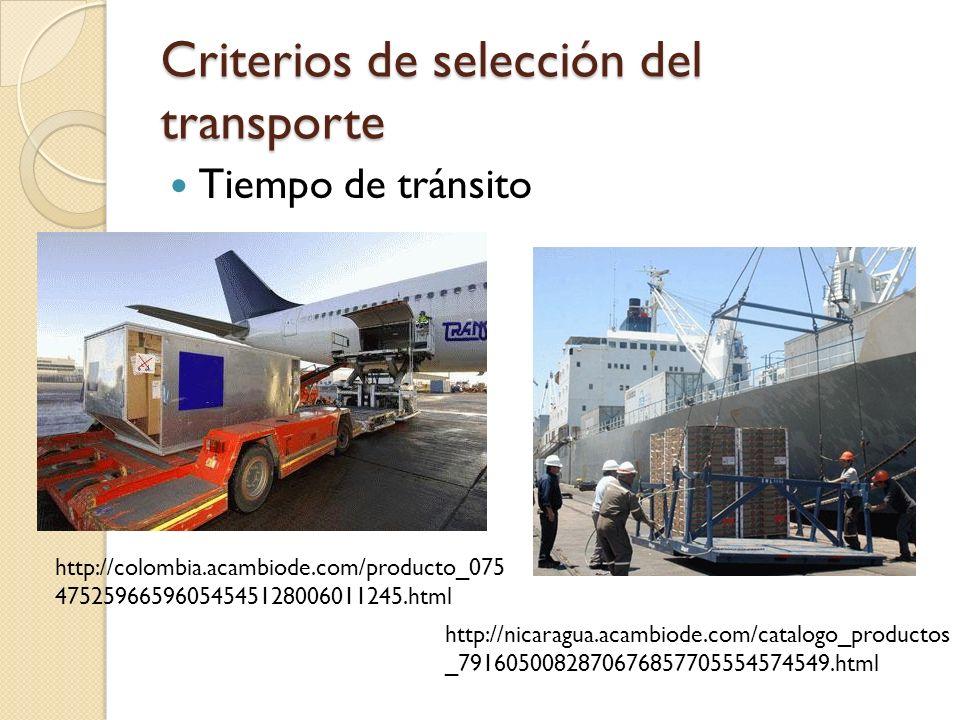 Criterios de selección del transporte Tiempo de tránsito http://colombia.acambiode.com/producto_075 47525966596054545128006011245.html http://nicaragu
