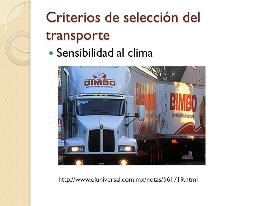 Criterios de selección del transporte Sensibilidad al clima http://www.eluniversal.com.mx/notas/561719.html