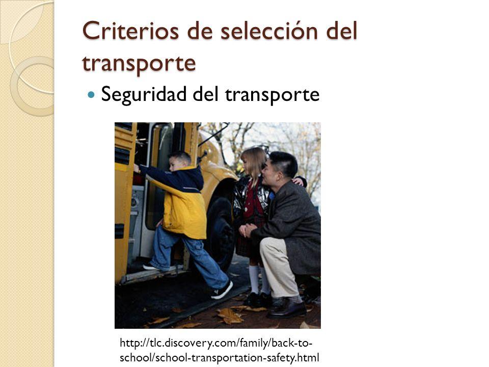 Criterios de selección del transporte Seguridad del transporte http://tlc.discovery.com/family/back-to- school/school-transportation-safety.html