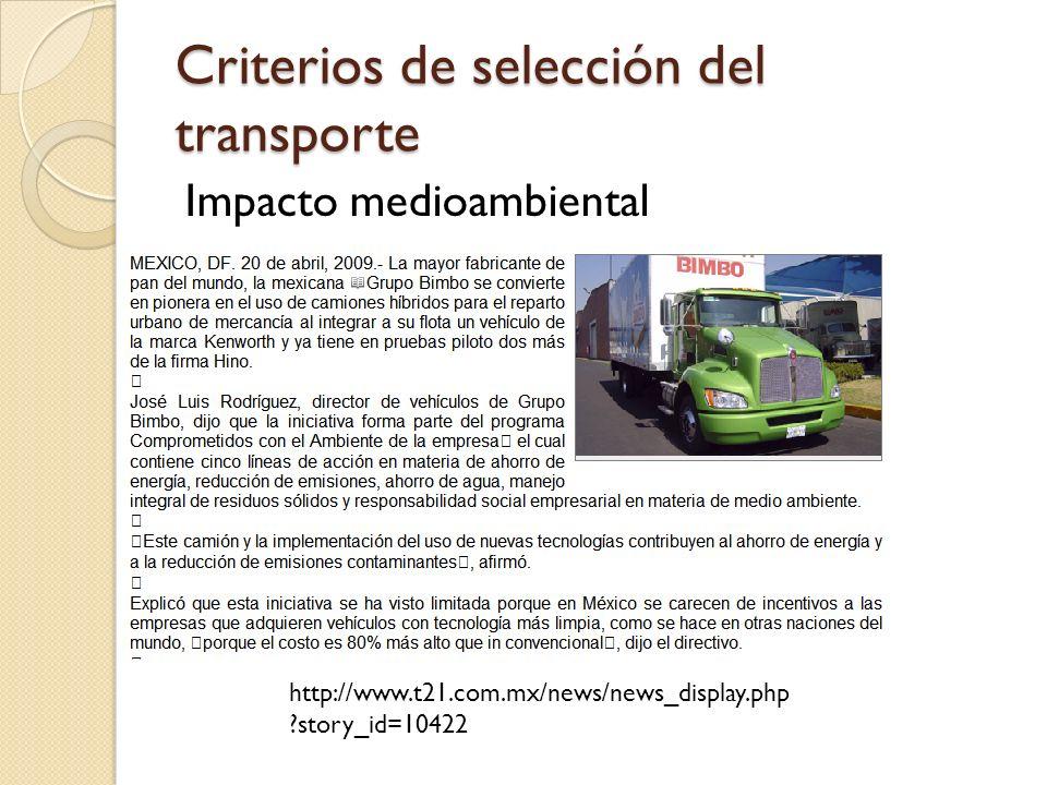 Criterios de selección del transporte Impacto medioambiental http://www.t21.com.mx/news/news_display.php ?story_id=10422