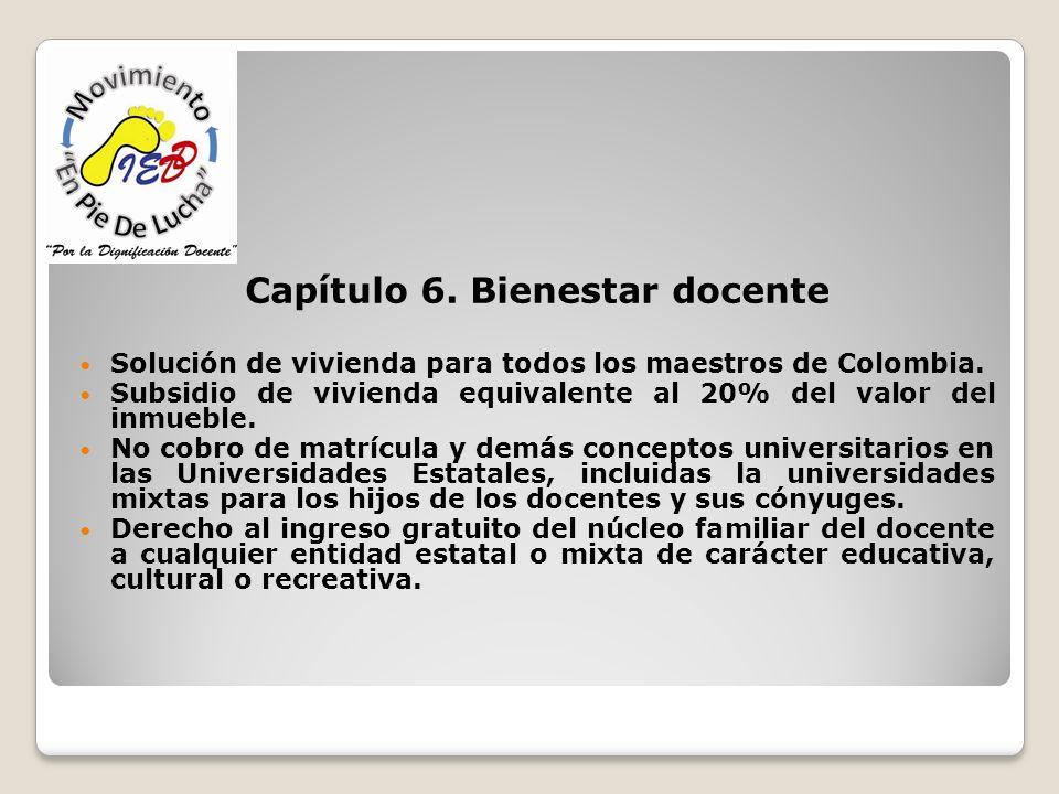 Capítulo 6. Bienestar docente Solución de vivienda para todos los maestros de Colombia. Subsidio de vivienda equivalente al 20% del valor del inmueble