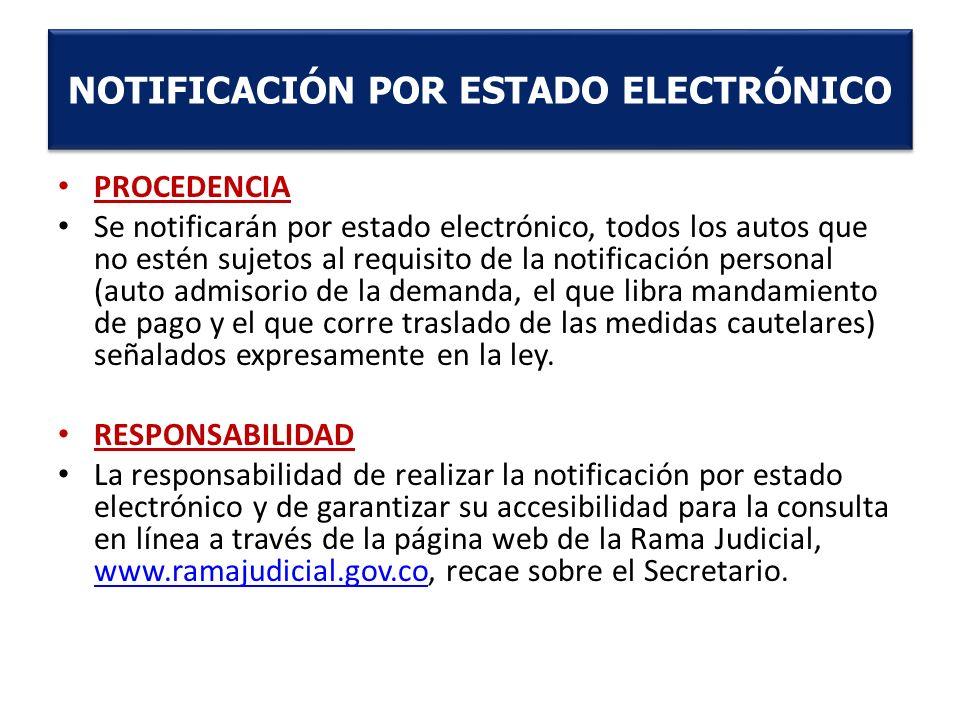 PROCEDENCIA Se notificarán por estado electrónico, todos los autos que no estén sujetos al requisito de la notificación personal (auto admisorio de la