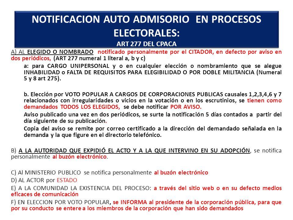 A) AL ELEGIDO O NOMBRADO notificado personalmente por el CITADOR, en defecto por aviso en dos periódicos, (ART 277 numeral 1 literal a, b y c) a: para