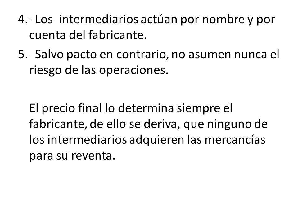 4.- Los intermediarios actúan por nombre y por cuenta del fabricante. 5.- Salvo pacto en contrario, no asumen nunca el riesgo de las operaciones. El p