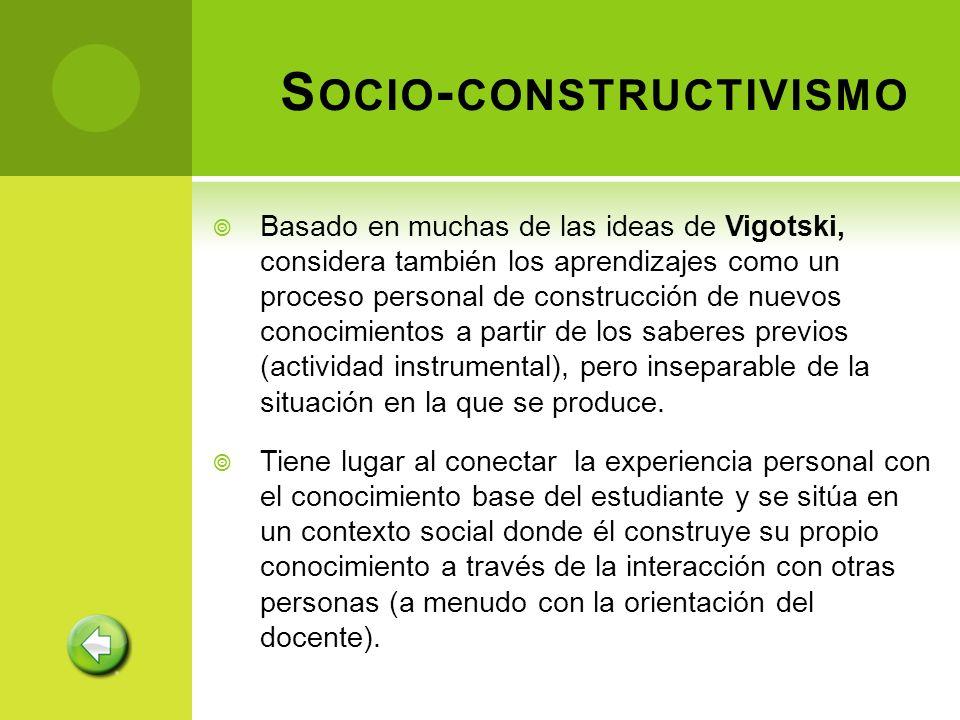 S OCIO - CONSTRUCTIVISMO Basado en muchas de las ideas de Vigotski, considera también los aprendizajes como un proceso personal de construcción de nue