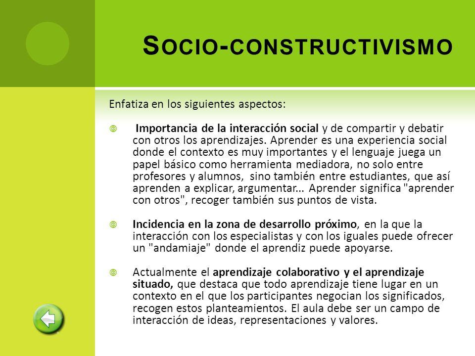 Enfatiza en los siguientes aspectos: Importancia de la interacción social y de compartir y debatir con otros los aprendizajes. Aprender es una experie