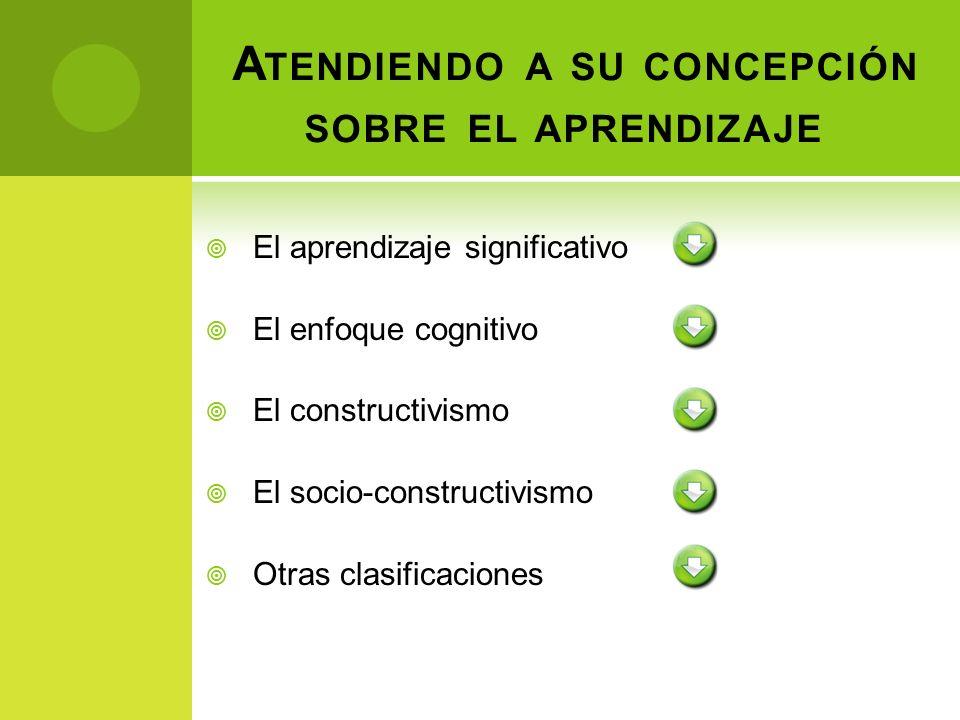 El aprendizaje significativo El enfoque cognitivo El constructivismo El socio-constructivismo Otras clasificaciones A TENDIENDO A SU CONCEPCIÓN SOBRE