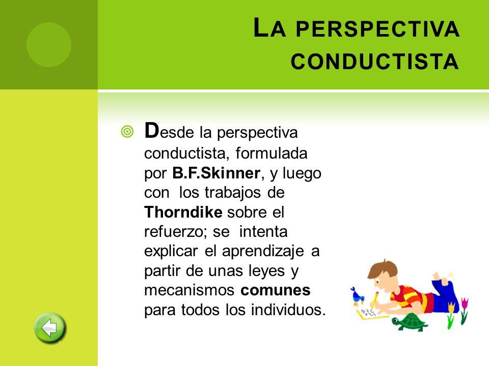 L A PERSPECTIVA CONDUCTISTA D esde la perspectiva conductista, formulada por B.F.Skinner, y luego con los trabajos de Thorndike sobre el refuerzo; se
