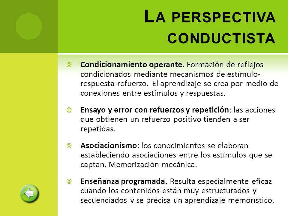 Condicionamiento operante. Formación de reflejos condicionados mediante mecanismos de estímulo- respuesta-refuerzo. El aprendizaje se crea por medio d