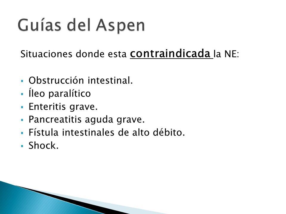 Situaciones donde esta contraindicada la NE: Obstrucción intestinal.