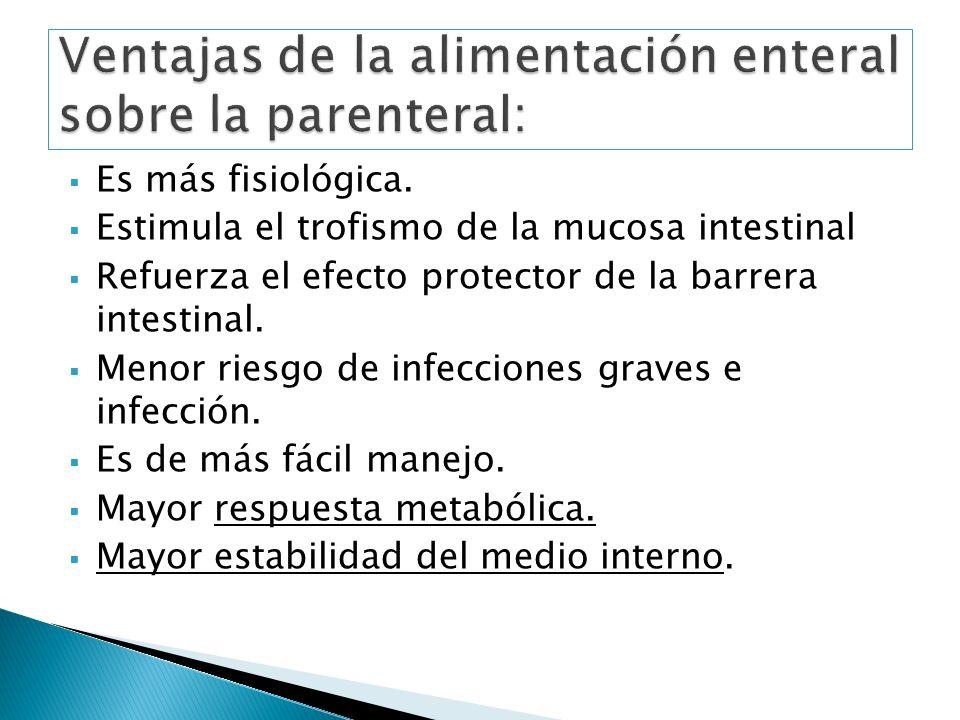 Es más fisiológica. Estimula el trofismo de la mucosa intestinal Refuerza el efecto protector de la barrera intestinal. Menor riesgo de infecciones gr