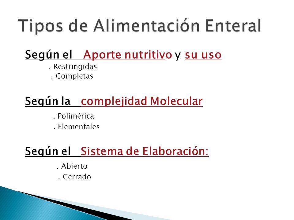 Según el Aporte nutritivo y su uso. Restringidas. Completas Según la complejidad Molecular. Polimérica. Elementales Según el Sistema de Elaboración:.