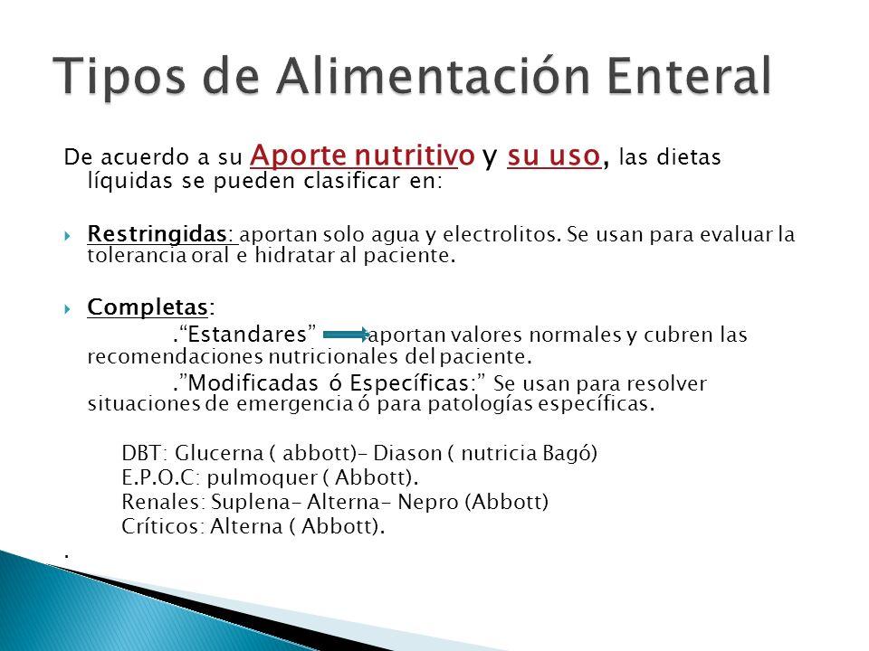 De acuerdo a su Aporte nutritivo y su uso, las dietas líquidas se pueden clasificar en: Restringidas: aportan solo agua y electrolitos.