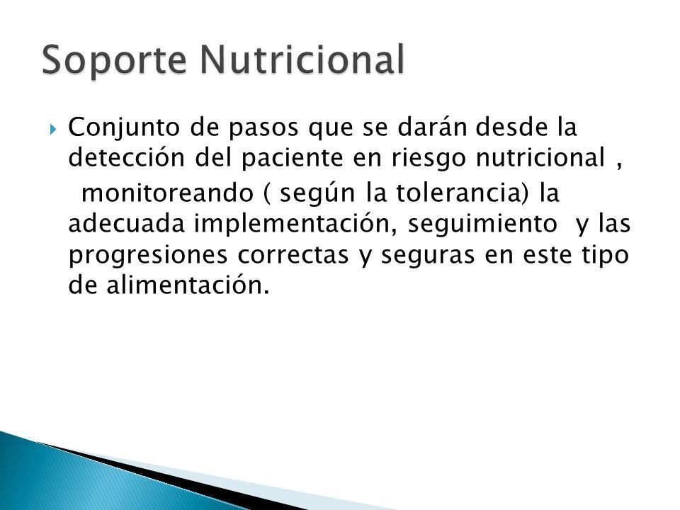 Conjunto de pasos que se darán desde la detección del paciente en riesgo nutricional, monitoreando ( según la tolerancia ) la adecuada implementación, seguimiento y las progresiones correctas y seguras en este tipo de alimentación.