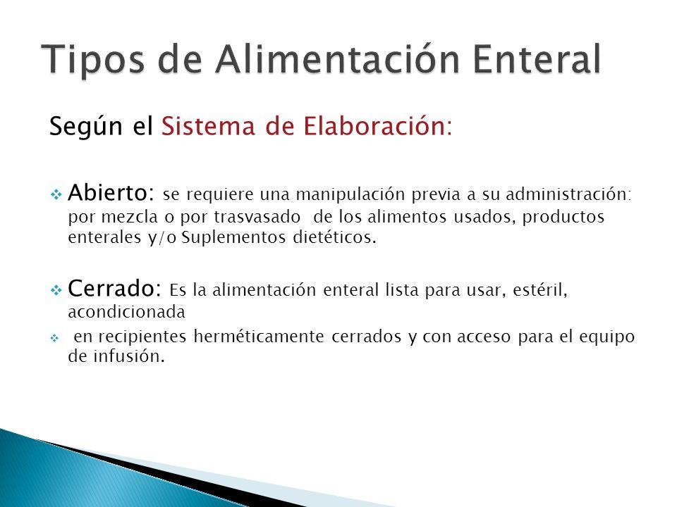 Según el Sistema de Elaboración: Abierto: se requiere una manipulación previa a su administración: por mezcla o por trasvasado de los alimentos usados, productos enterales y/o Suplementos dietéticos.