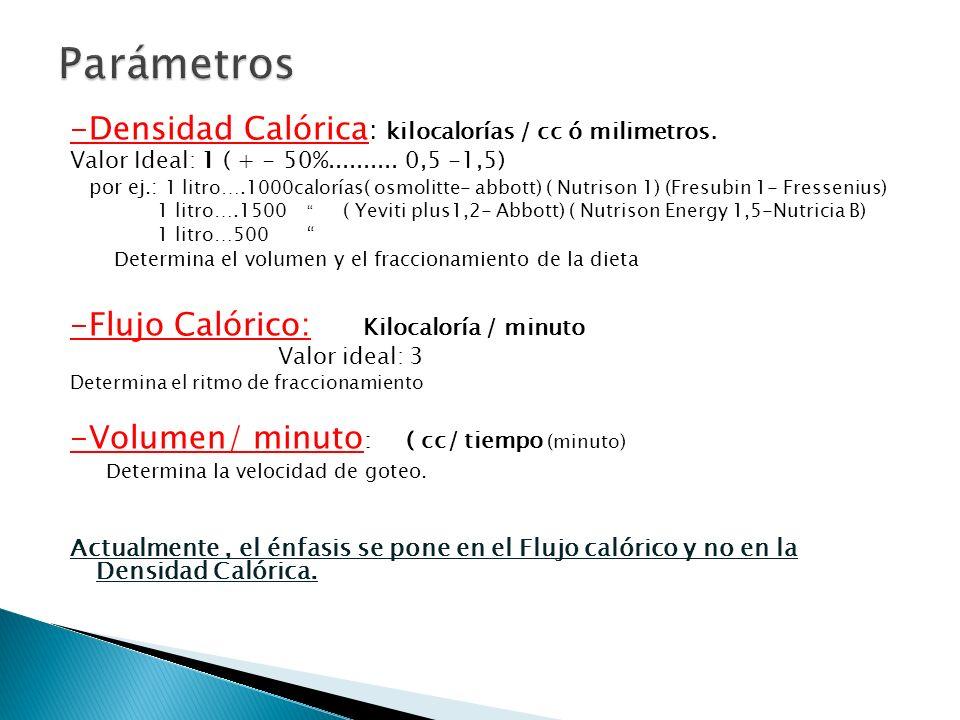-Densidad Calórica : kilocalorías / cc ó milimetros. Valor Ideal: 1 ( + - 50%.......... 0,5 -1,5) por ej.: 1 litro….1000calorías( osmolitte- abbott) (