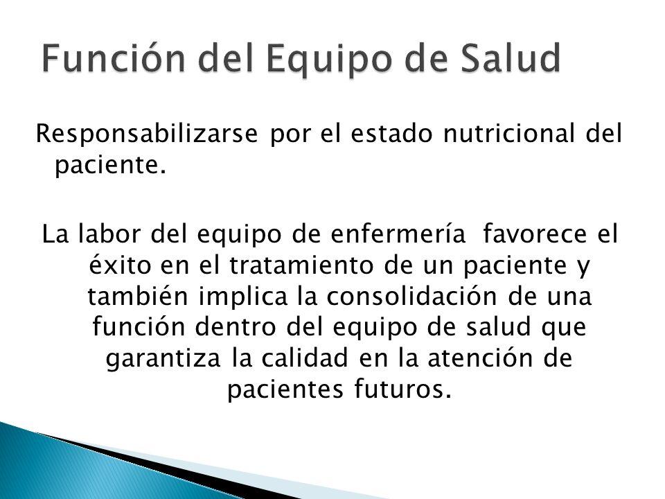Responsabilizarse por el estado nutricional del paciente.