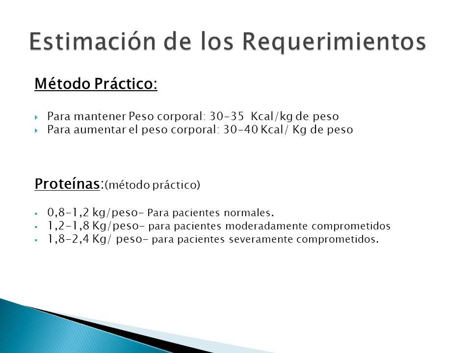 Método Práctico: Para mantener Peso corporal: 30-35 Kcal/kg de peso Para aumentar el peso corporal: 30-40 Kcal/ Kg de peso Proteínas: (método práctico) 0,8-1,2 kg/peso- Para pacientes normales.