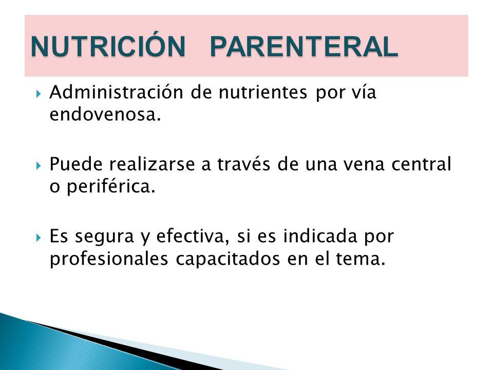 Administración de nutrientes por vía endovenosa. Puede realizarse a través de una vena central o periférica. Es segura y efectiva, si es indicada por