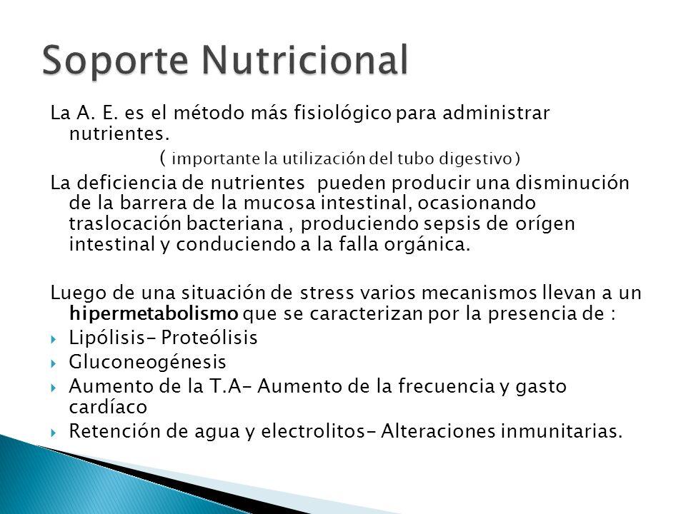 La A. E. es el método más fisiológico para administrar nutrientes. ( importante la utilización del tubo digestivo ) La deficiencia de nutrientes puede