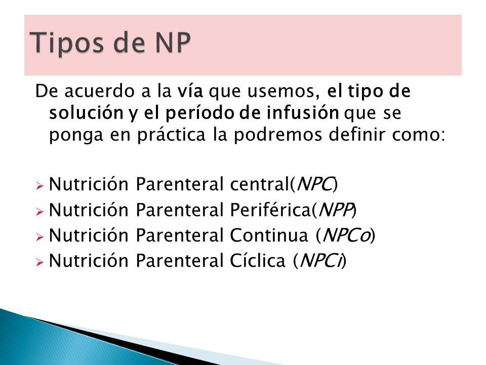 De acuerdo a la vía que usemos, el tipo de solución y el período de infusión que se ponga en práctica la podremos definir como: Nutrición Parenteral central( NPC ) Nutrición Parenteral Periférica( NPP ) Nutrición Parenteral Continua ( NPCo ) Nutrición Parenteral Cíclica ( NPCi )