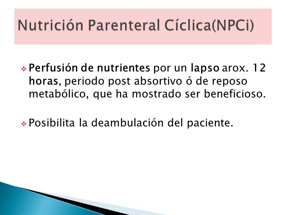 Perfusión de nutrientes por un lapso arox. 12 horas, periodo post absortivo ó de reposo metabólico, que ha mostrado ser beneficioso. Posibilita la dea