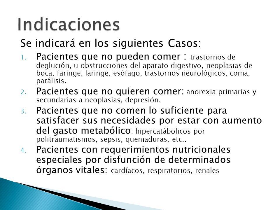 Se indicará en los siguientes Casos: 1. Pacientes que no pueden comer : trastornos de deglución, u obstrucciones del aparato digestivo, neoplasias de