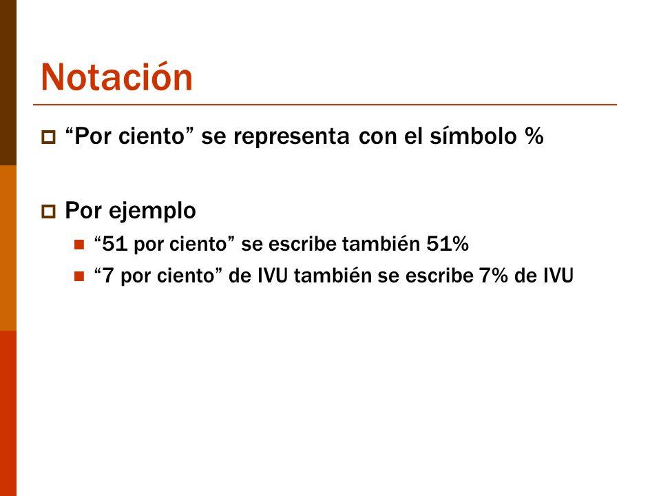 Notación Por ciento se representa con el símbolo % Por ejemplo 51 por ciento se escribe también 51% 7 por ciento de IVU también se escribe 7% de IVU