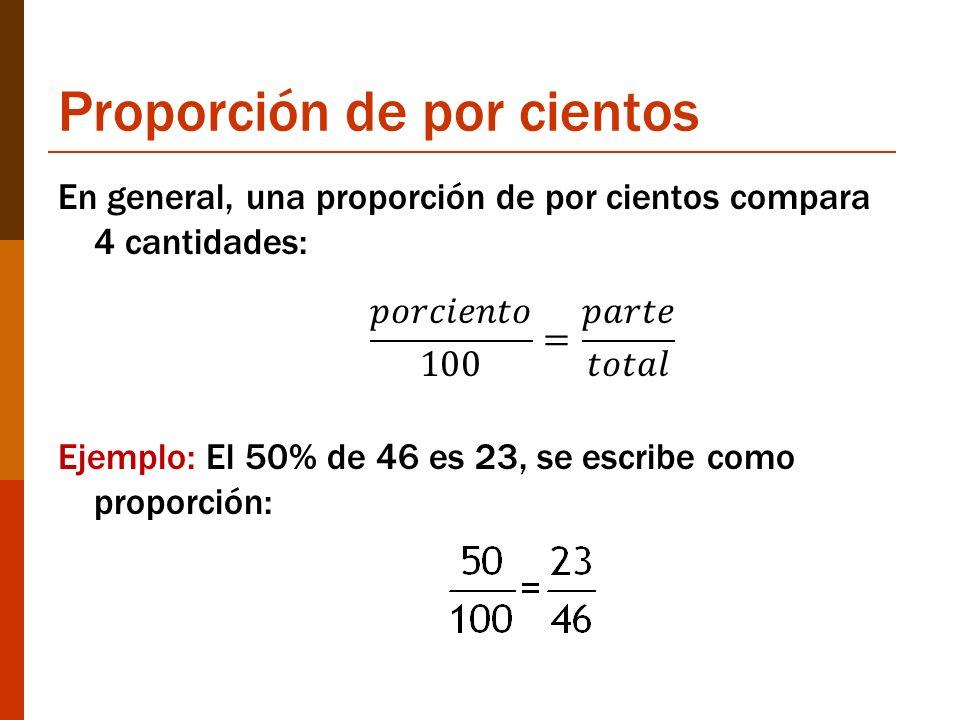 Proporción de por cientos En general, una proporción de por cientos compara 4 cantidades: Ejemplo: El 50% de 46 es 23, se escribe como proporción: