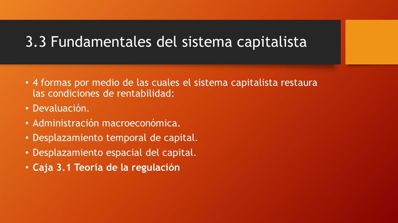 3.3 Fundamentales del sistema capitalista 4 formas por medio de las cuales el sistema capitalista restaura las condiciones de rentabilidad: Devaluació