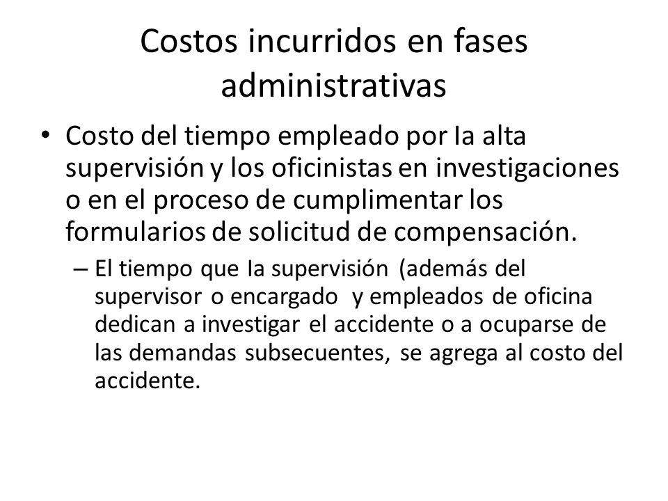 Costos incurridos en fases administrativas Costo del tiempo empleado por Ia alta supervisión y los oficinistas en investigaciones o en el proceso de c