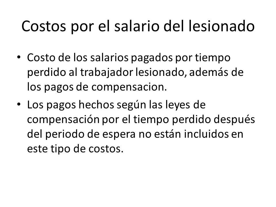 Costos por el salario del lesionado Costo de los salarios pagados por tiempo perdido al trabajador lesionado, además de los pagos de compensacion. Los