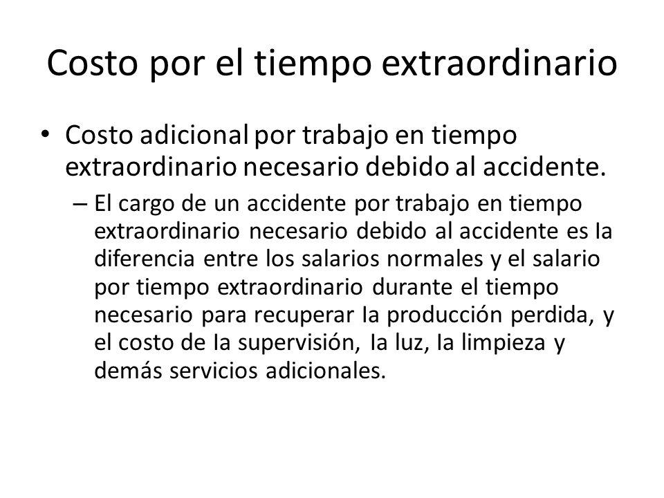 Costo por el tiempo extraordinario Costo adicional por trabajo en tiempo extraordinario necesario debido al accidente. – El cargo de un accidente por