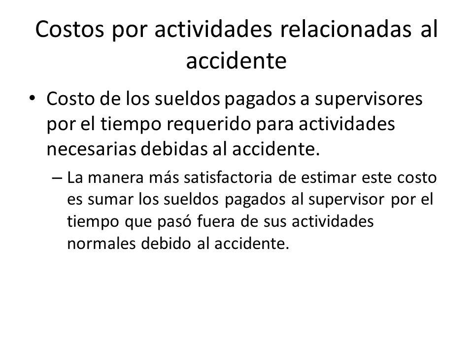 Costos por actividades relacionadas al accidente Costo de los sueldos pagados a supervisores por el tiempo requerido para actividades necesarias debid