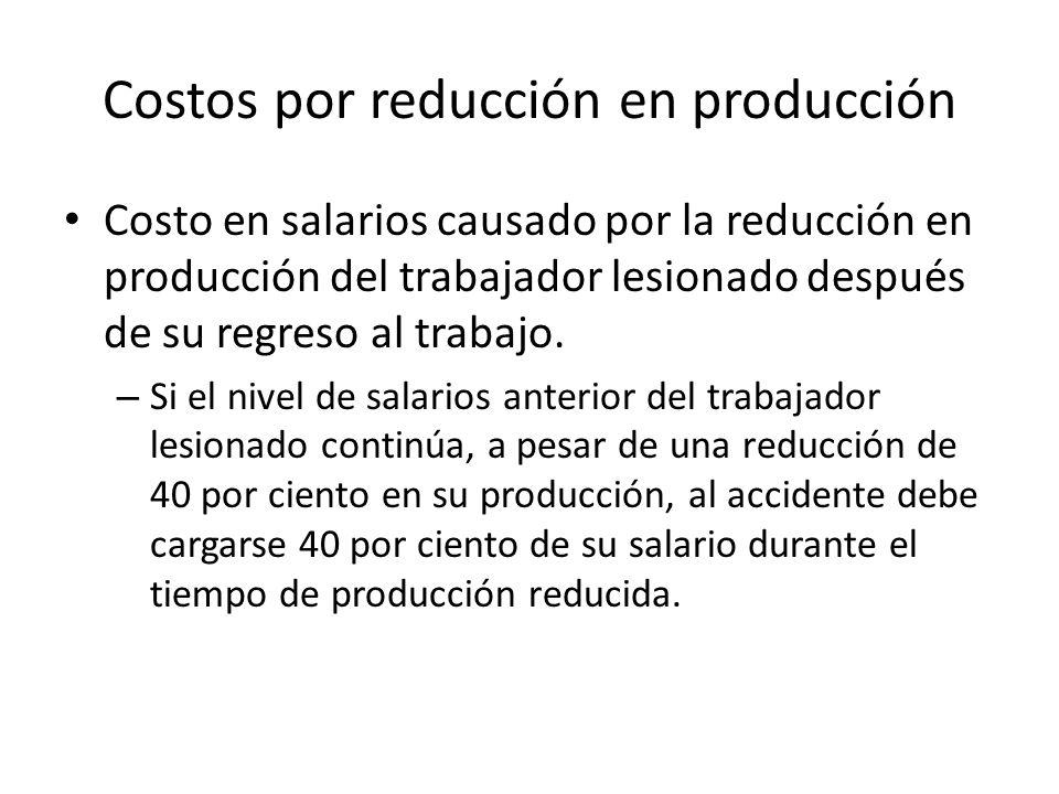 Costos por reducción en producción Costo en salarios causado por la reducción en producción del trabajador lesionado después de su regreso al trabajo.