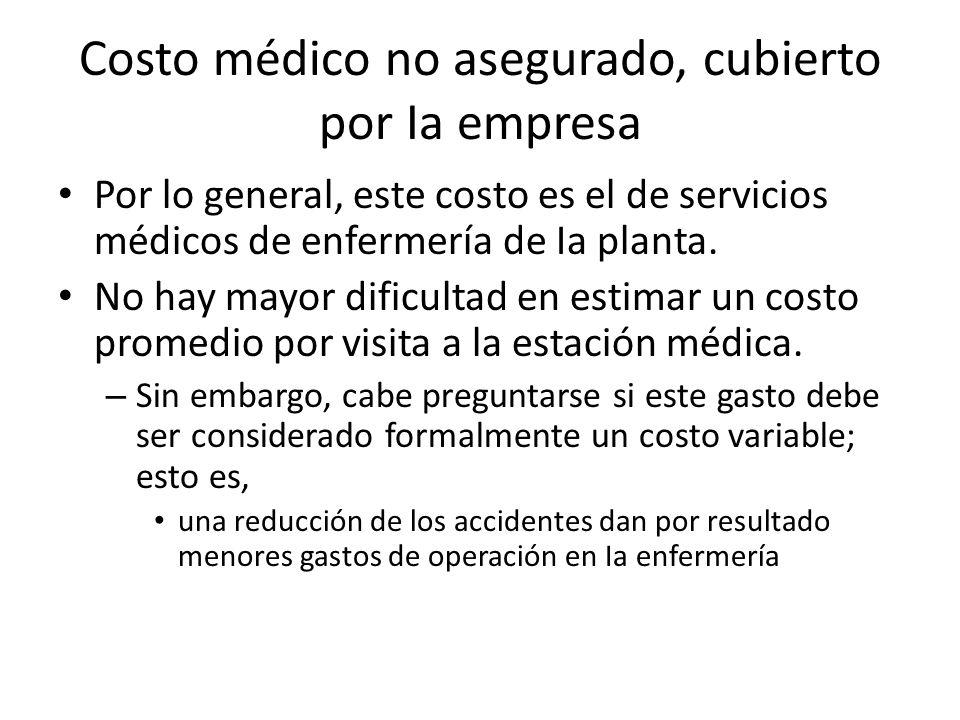 Costo médico no asegurado, cubierto por Ia empresa Por lo general, este costo es el de servicios médicos de enfermería de Ia planta. No hay mayor difi