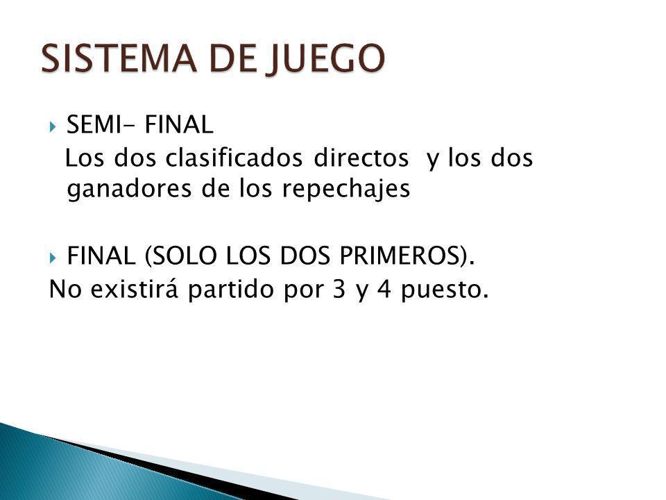 SEMI- FINAL Los dos clasificados directos y los dos ganadores de los repechajes FINAL (SOLO LOS DOS PRIMEROS). No existirá partido por 3 y 4 puesto.