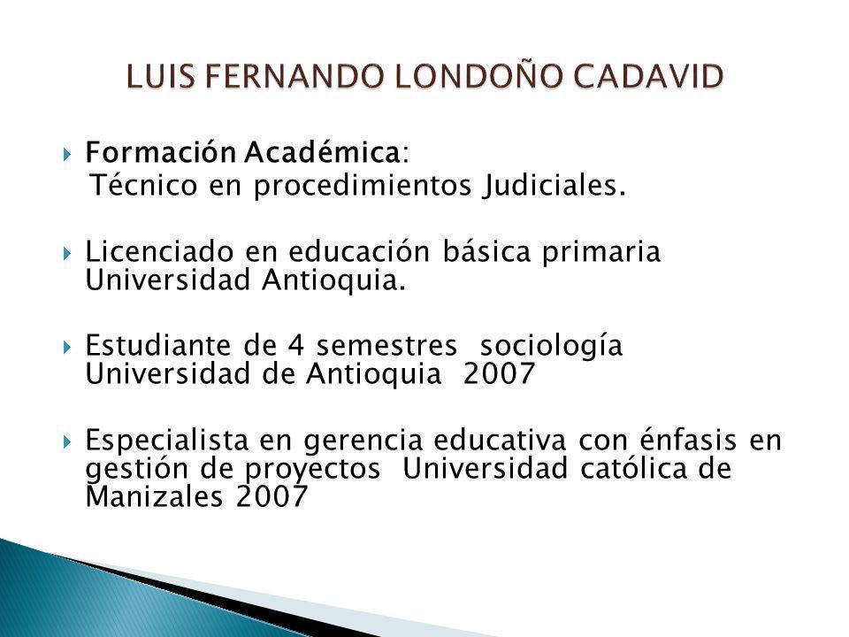 Formación Académica: Técnico en procedimientos Judiciales. Licenciado en educación básica primaria Universidad Antioquia. Estudiante de 4 semestres so