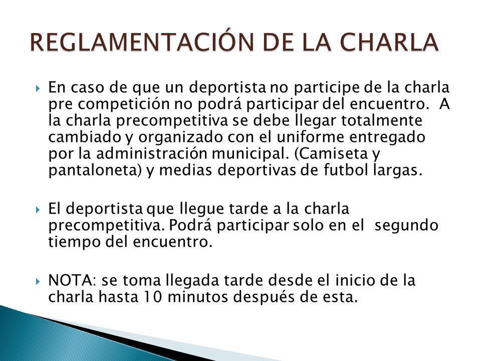 En caso de que un deportista no participe de la charla pre competición no podrá participar del encuentro.