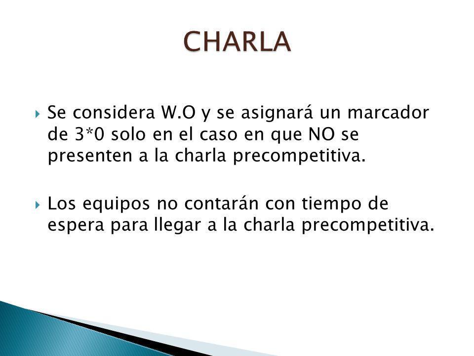 Se considera W.O y se asignará un marcador de 3*0 solo en el caso en que NO se presenten a la charla precompetitiva.