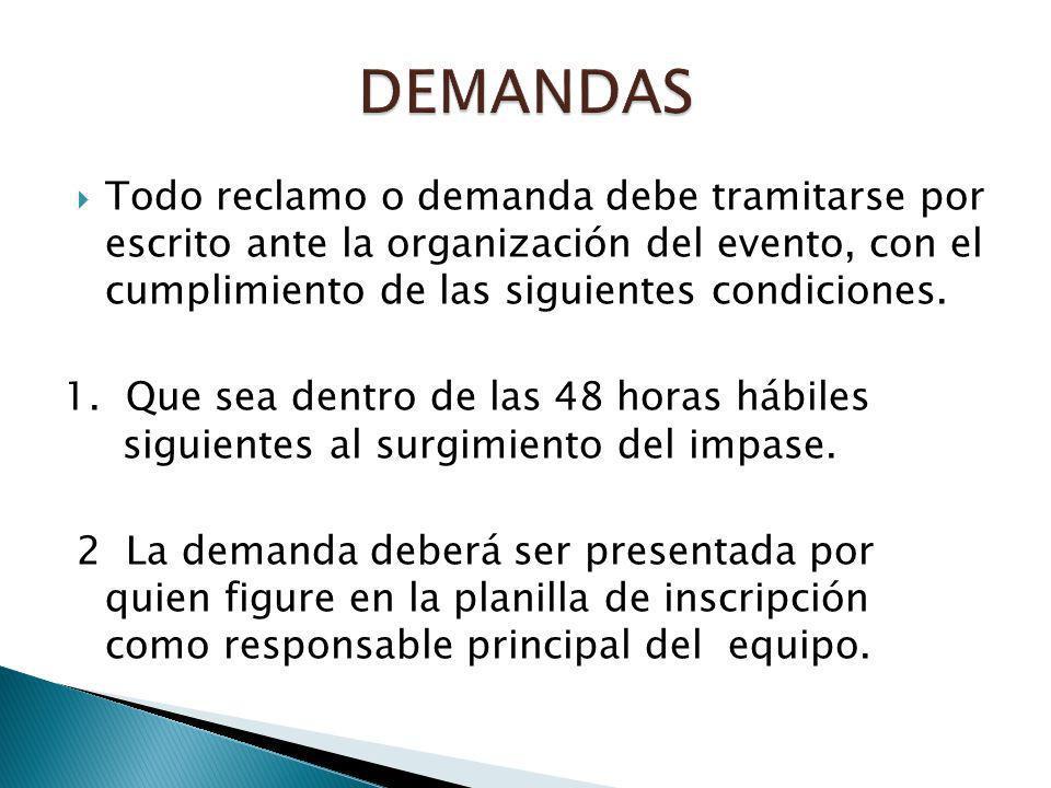 Todo reclamo o demanda debe tramitarse por escrito ante la organización del evento, con el cumplimiento de las siguientes condiciones. 1. Que sea dent
