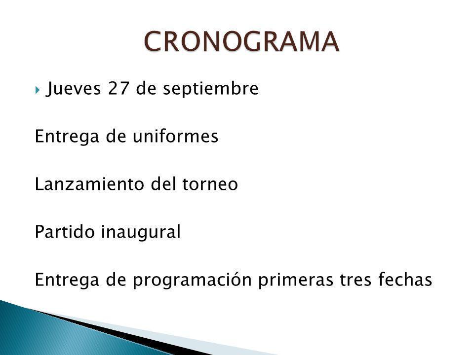 Jueves 27 de septiembre Entrega de uniformes Lanzamiento del torneo Partido inaugural Entrega de programación primeras tres fechas