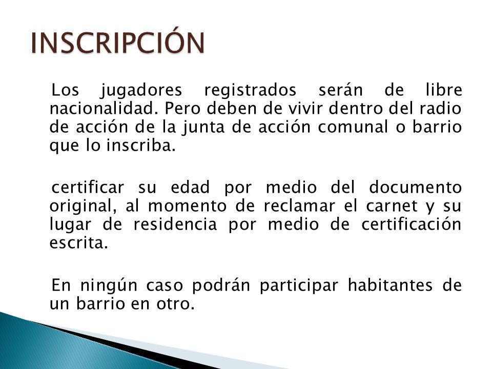 Los jugadores registrados serán de libre nacionalidad.