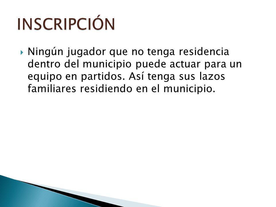 Ningún jugador que no tenga residencia dentro del municipio puede actuar para un equipo en partidos.