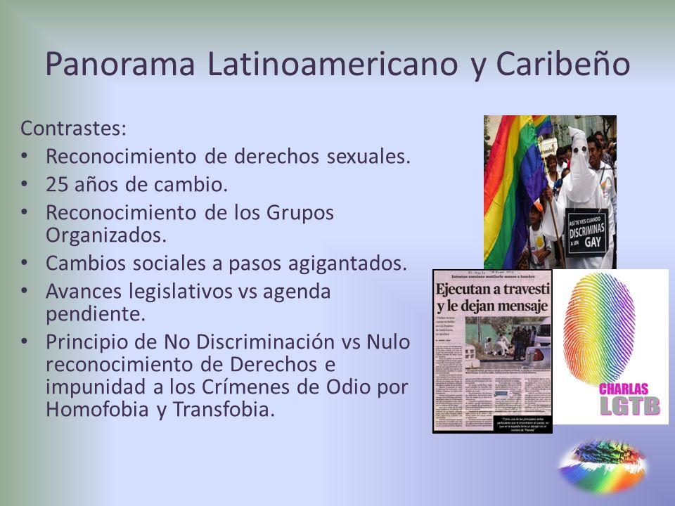 Panorama Latinoamericano y Caribeño Contrastes: Reconocimiento de derechos sexuales. 25 años de cambio. Reconocimiento de los Grupos Organizados. Camb