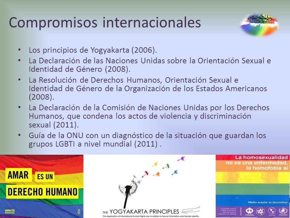 Compromisos internacionales Los principios de Yogyakarta (2006). La Declaración de las Naciones Unidas sobre la Orientación Sexual e Identidad de Géne