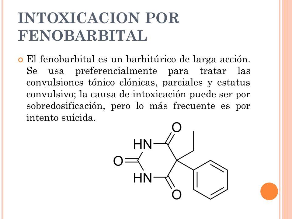INTOXICACION POR FENOBARBITAL El fenobarbital es un barbitúrico de larga acción. Se usa preferencialmente para tratar las convulsiones tónico clónicas