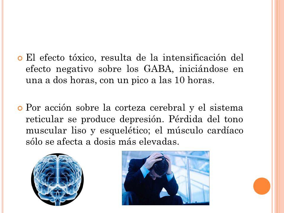El efecto tóxico, resulta de la intensificación del efecto negativo sobre los GABA, iniciándose en una a dos horas, con un pico a las 10 horas. Por ac