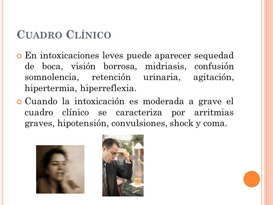 C UADRO C LÍNICO En intoxicaciones leves puede aparecer sequedad de boca, visión borrosa, midriasis, confusión somnolencia, retención urinaria, agitac