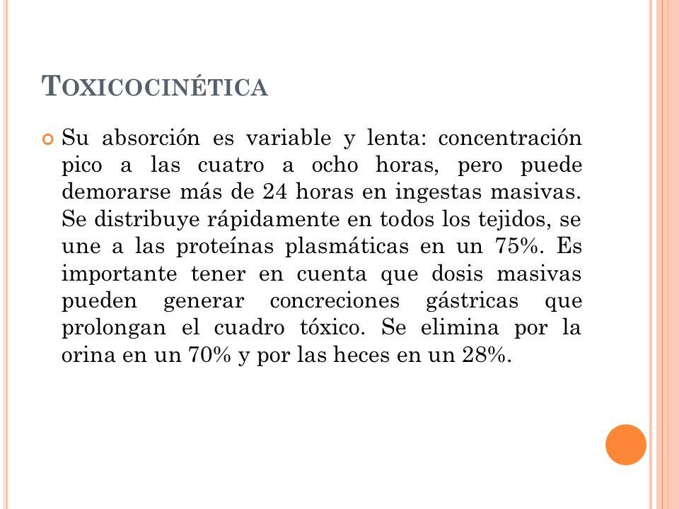 T OXICOCINÉTICA Su absorción es variable y lenta: concentración pico a las cuatro a ocho horas, pero puede demorarse más de 24 horas en ingestas masiv